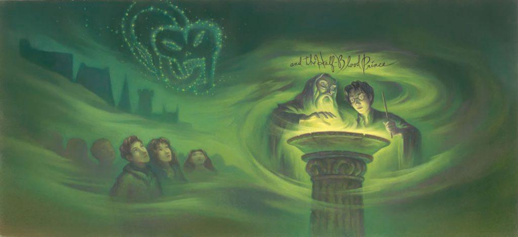 Couverture intégrale de Harry Potter et le Prince de Sang-Mêlé par Mary Grandpré, éditions Scholastic US