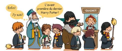 Des sorciers de Harry Potter faisant la queue pour le cinéma