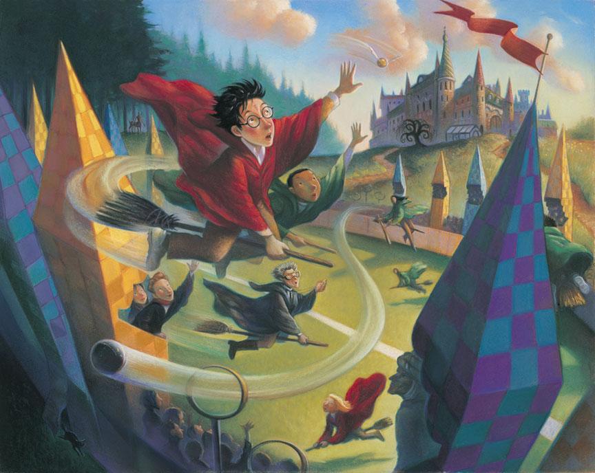 illustration d'une scène de quididtch par Mary Grandpré