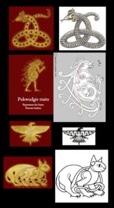 Logos des maisons d'Ilvermorny sur Pottermore comparés à des dessins presque identiques trouvés sur internet.