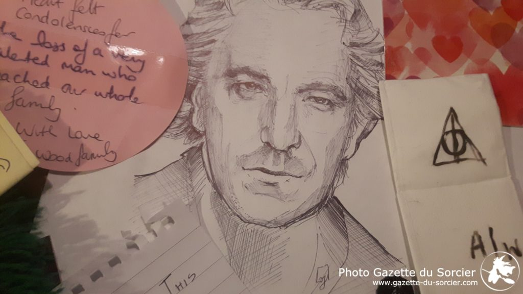 Dessin de Alan Rickman laissé en hommage au Quai 9 3/4 le jour de son décès