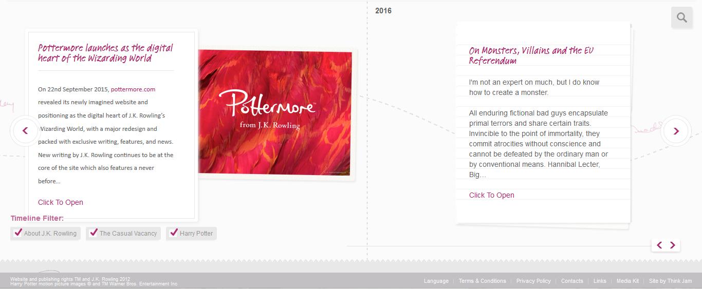 Le nouveau site de J.K. Rowling décortiqué
