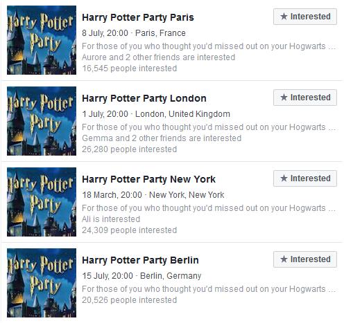 Prudence au sujet de la «Harry Potter Paris Party»