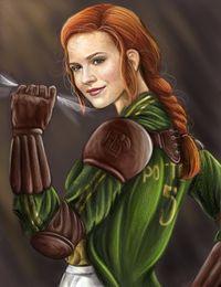 Fanart de Ginny Weasley en tenue de quidditch des Harpies de Holyhead, tenant un vif d'or fermement en main