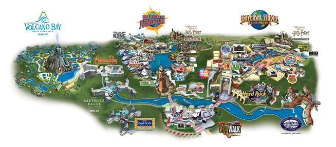 Plan des parcs Universal à Orlando