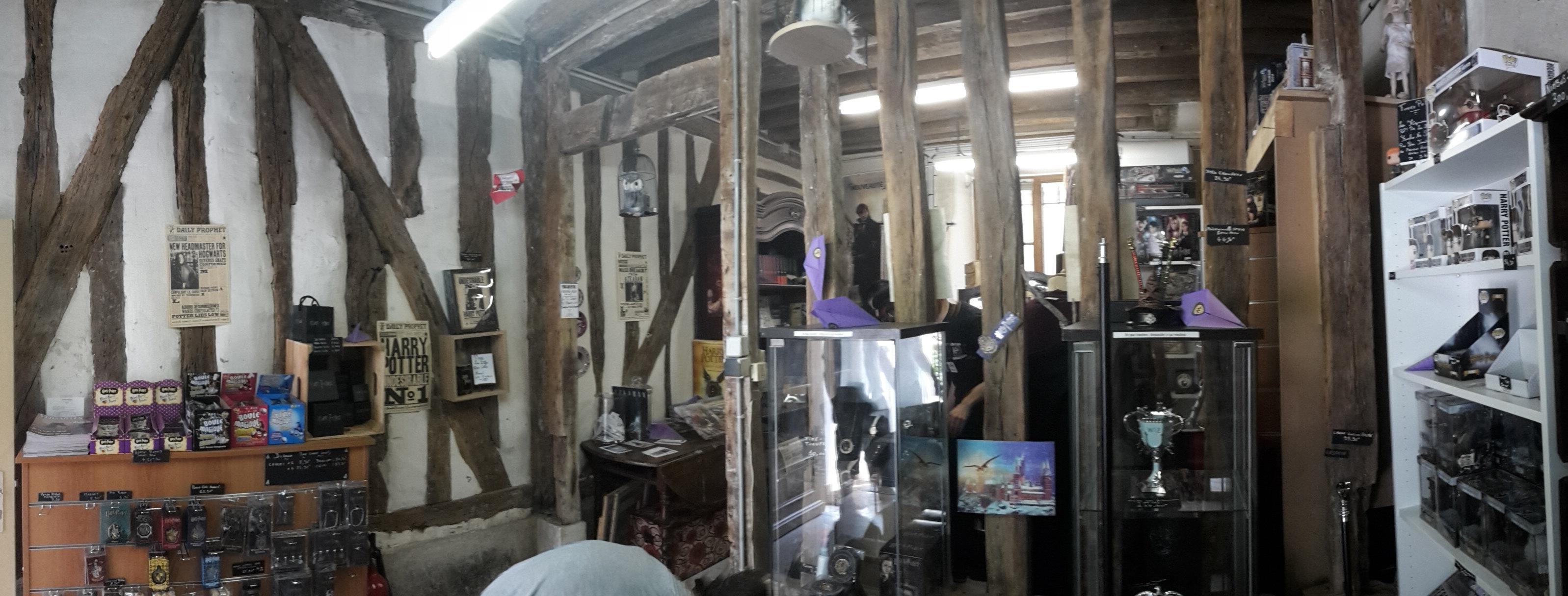 Intérieur du magasin Harry Potter L'Armoire Geek à Versailles