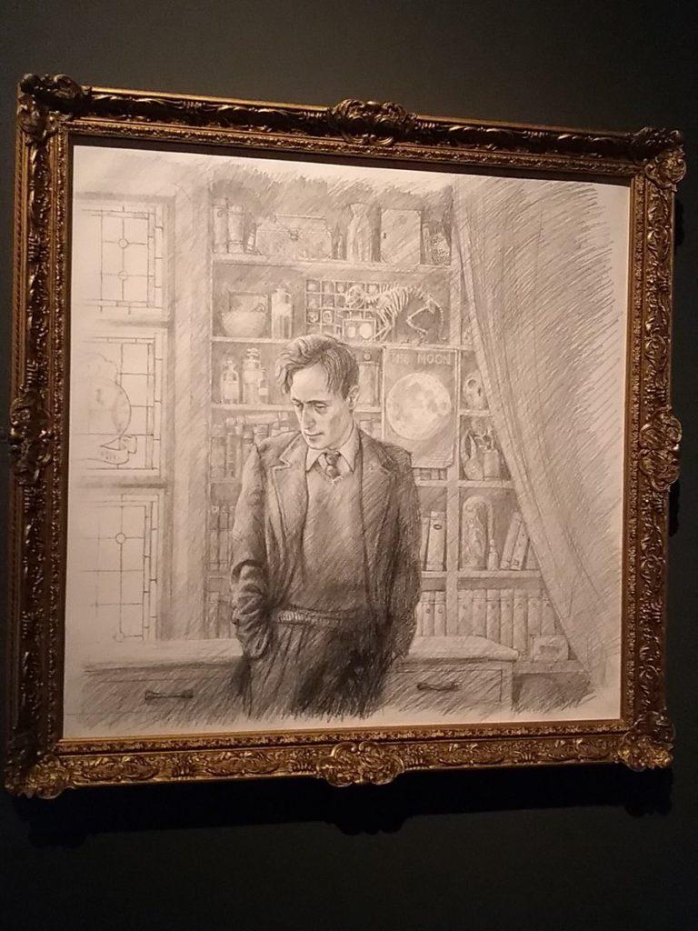 Dessin crayonné de Lupin selon Jim Kay à l'exposition Harry Potter de la British Library
