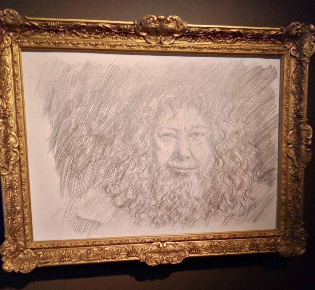 Dessin crayonné de Hagrid selon Jim Kay à l'exposition Harry Potter de la British Library