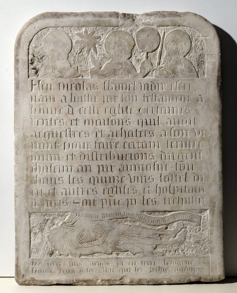 Pierre tombale de Nicolas Flamel à l'exposition Harry Potter de la British Library