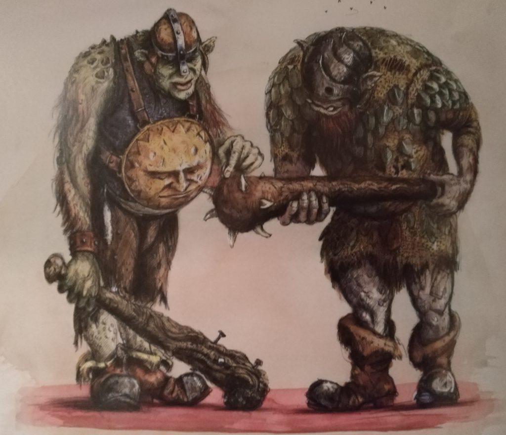 Deux trolls comparent la taille de leur massue dans Harry Potter et le prisonnier d'Azkaban, édition illustrée par Jim Kay