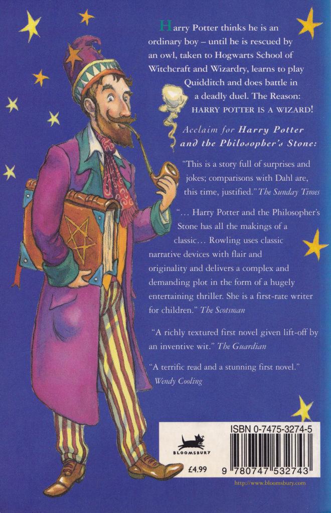 Quatrième de couverture de Harry Potter à l'école des sorciers (Harry Potter & the philosopher's stone) par Thomas Taylor pour Bloomsbury