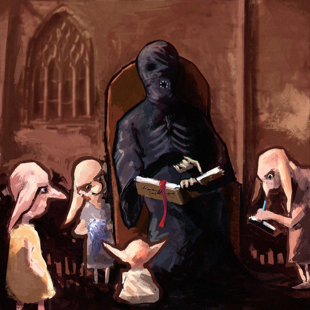 Détraqueur partageant ses recettes aux elfes de maison, par Lexh.