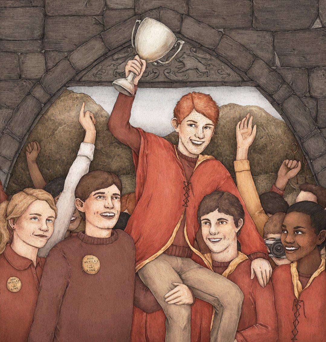 Ron Weasley porté en triomphe lorsque Gryffondor remporte la coupe de quidditch - illustration de pottermore