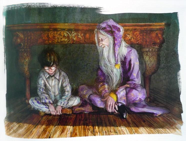 Harry et Dumbledore discutent en pyjama, par Jim Kay