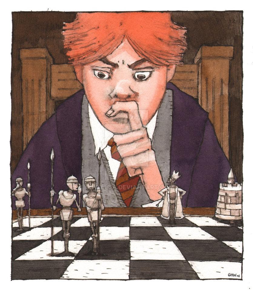 Ron Weasley devant un échiquier magique