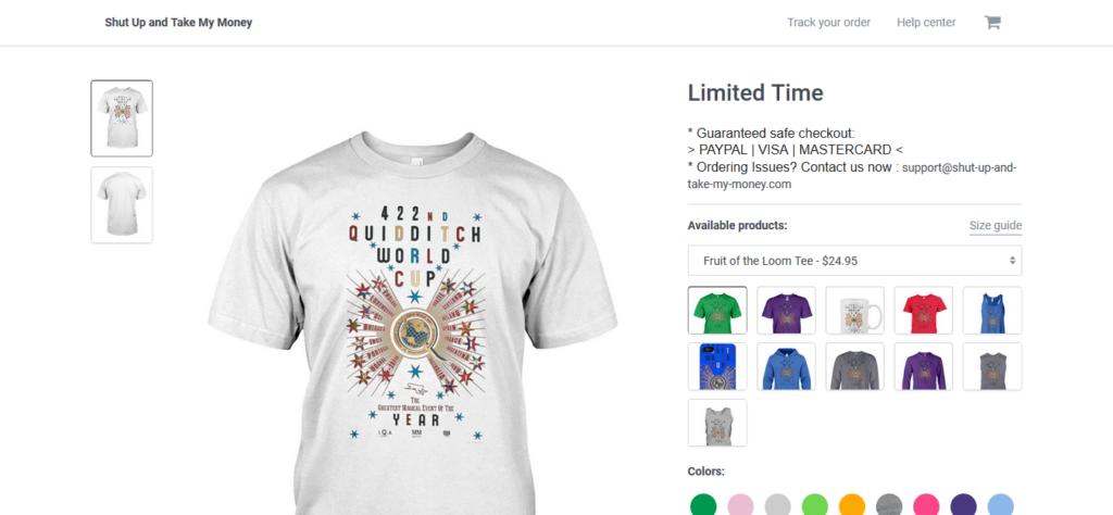 T-shirts Harry Potter et Wizarding World reprenant un design créé par Minalimasur une page de contrefaçon s