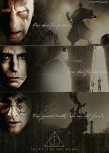 Un montage illustrant le parallèle entre le cont des trois frères et Harry, Rogue et Voldemort