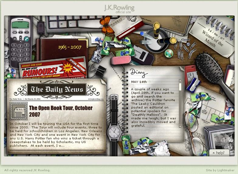 Capture d'écran de la page d'accueil de l'ancien site jkrowling.com, bureau de l'autrice