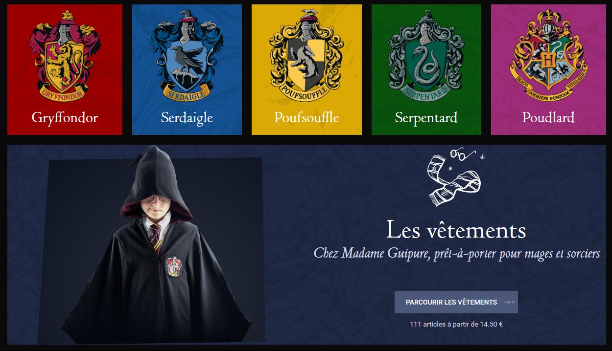 La boutique en ligne officielle du Monde Magique d'Harry Potter débarque en France