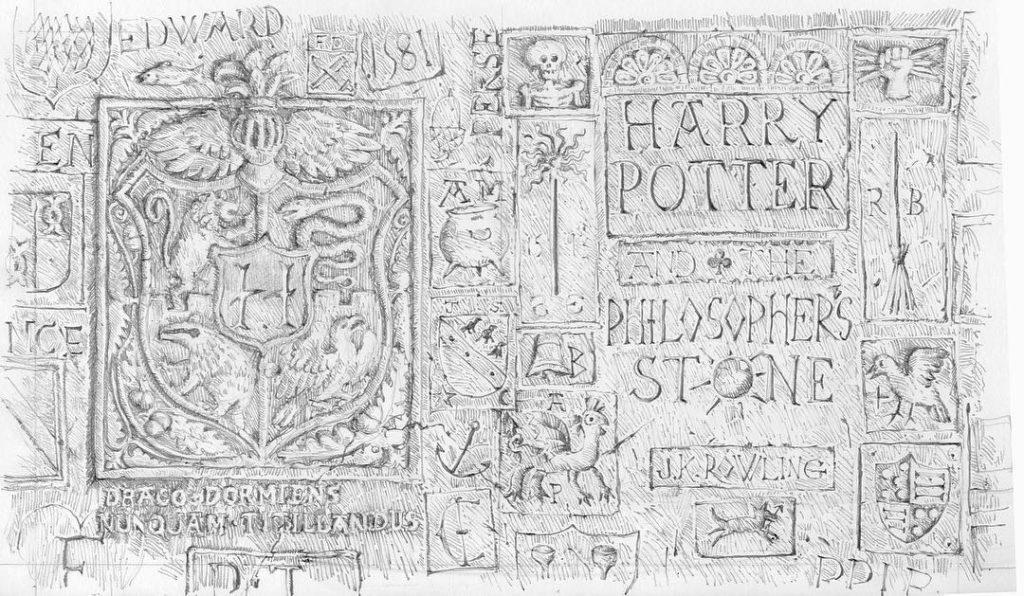 Brouillon de couverture par Jim Kay pour Harry Potter à l'école des sorciers