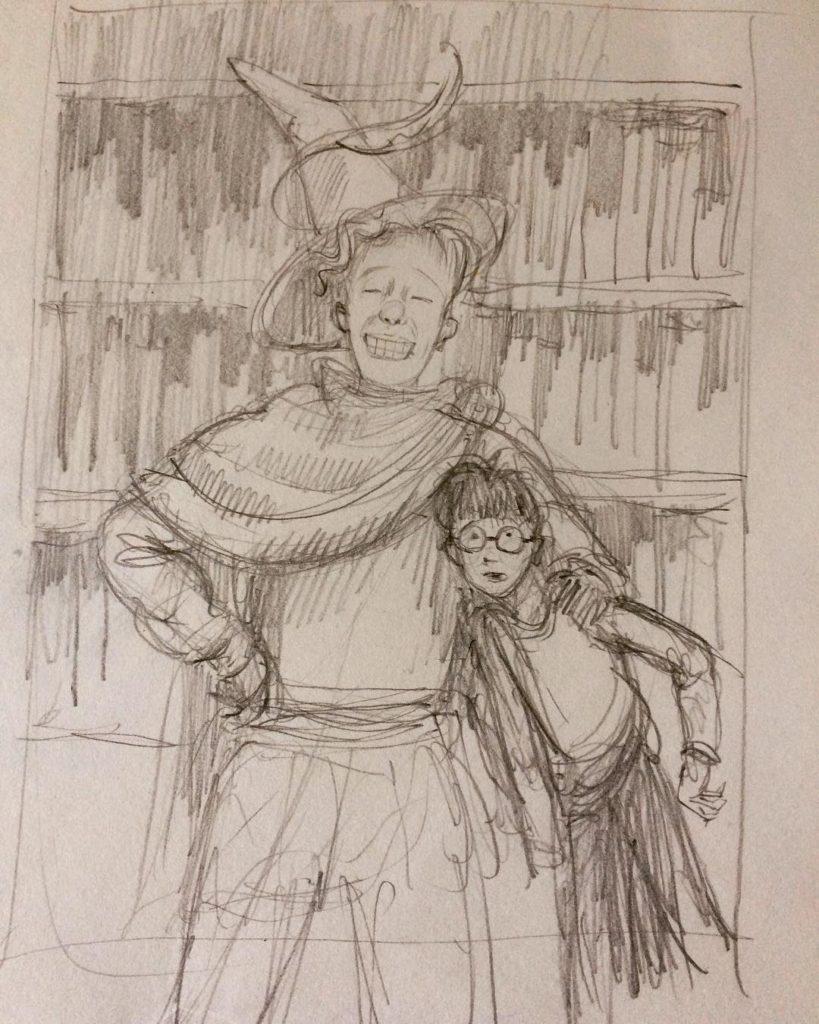 Croquis de Harry Potter et Gilderoy Lockhart par Jim Kay pour Harry Potter et la Chambre des Secrets, édition illustrée