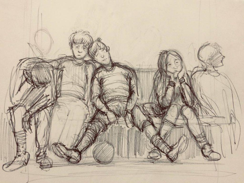 Le joueurs de l'équipe de gryffondor assomés par le discours d'Olivier Dubois, croqui par Jim Kay pour l'édition illustrée de Harry Potter et le prisonier d'Azkaban