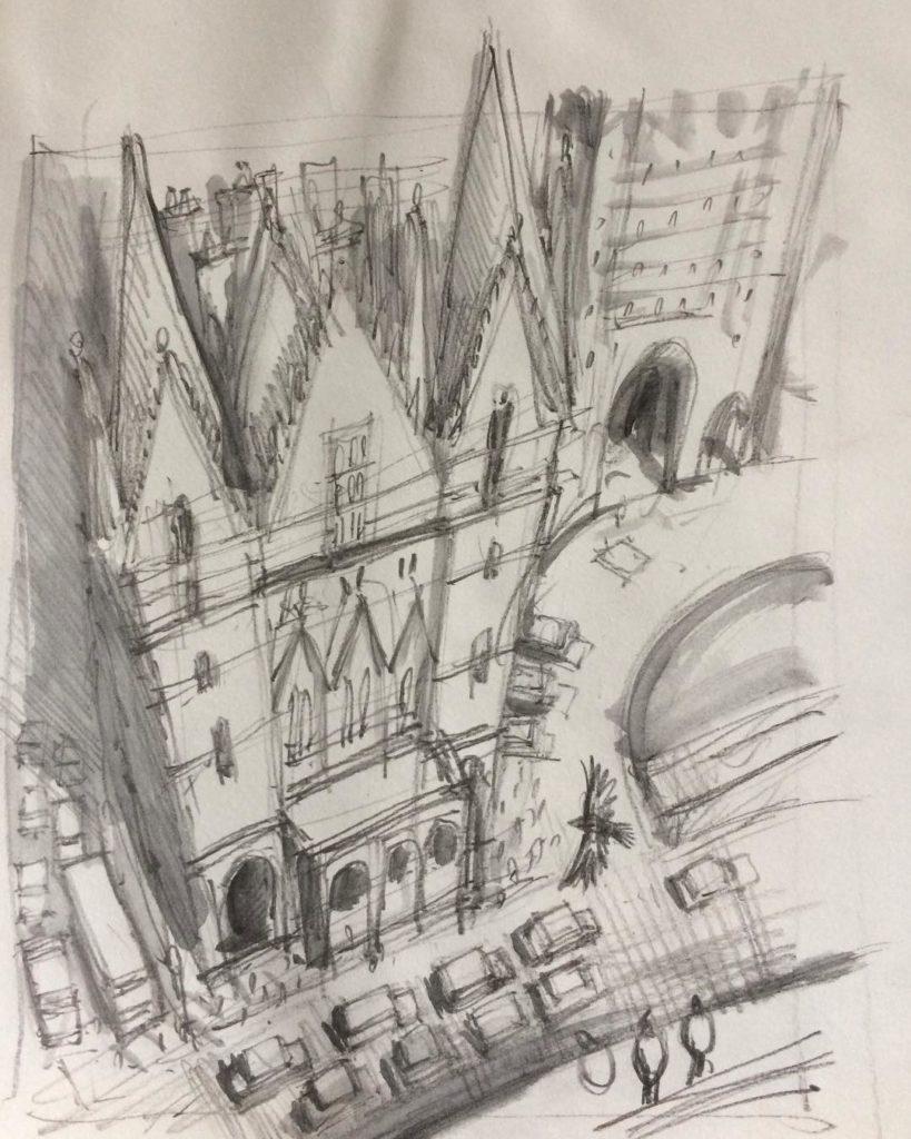 Brouillon de la gare de St Pancras par Jim Kay pour Harry Potter et la chambre des secrets, édition illustrée