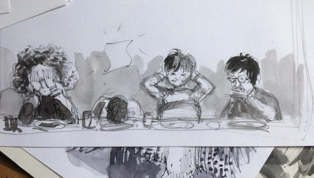 Illustration inachevée de Ron Weasley recevant la beuglante dans Harry Potter et la Chambre des Secrets, édition illustrée par Jim Kay