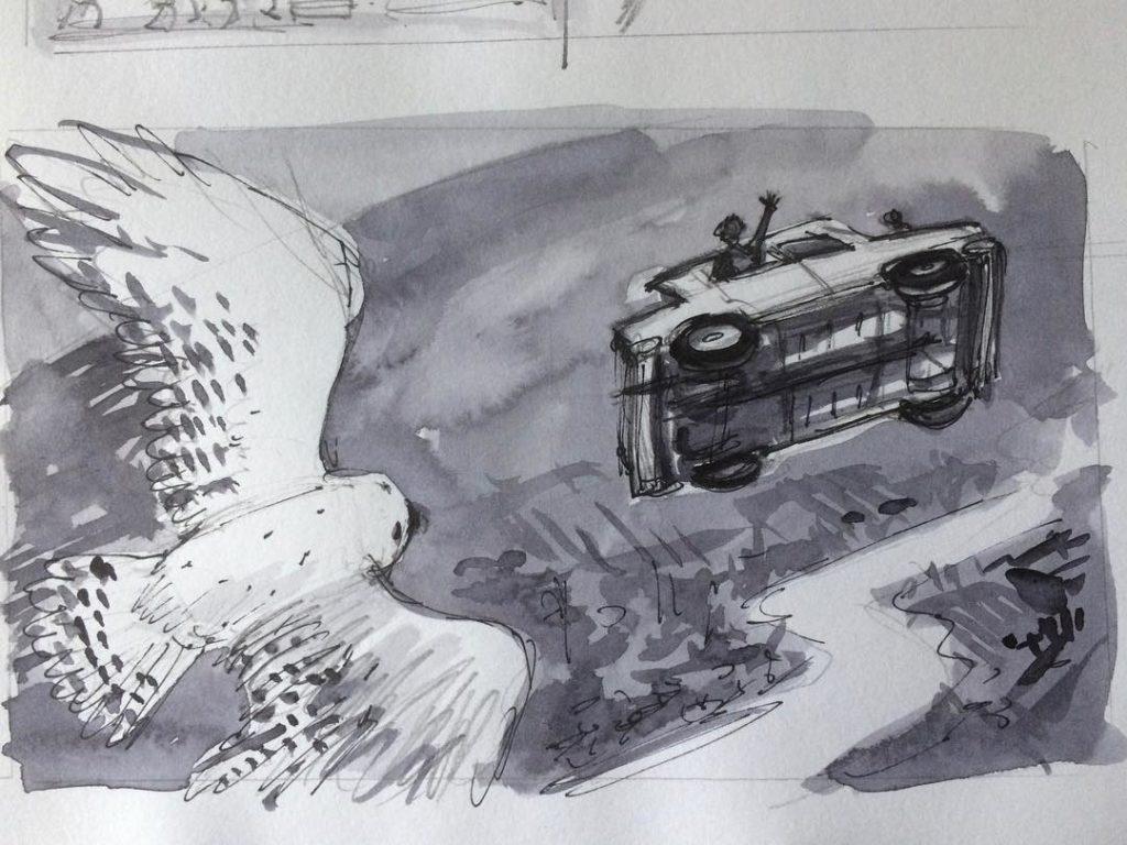 Brouillon de Jim Kay pour la Couverture de Harry Potter et la Chambre des Secrets