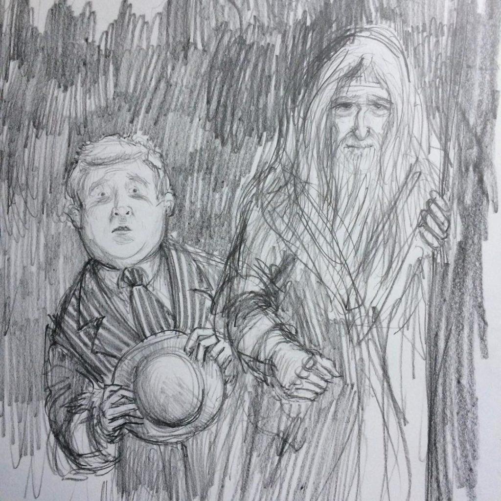 Croquis de Fudge et Dumbledore arrivant chez Hagrid, par Jim Kay pour l'édition illustrée de Harry Potter et le prisonier d'Azkaban