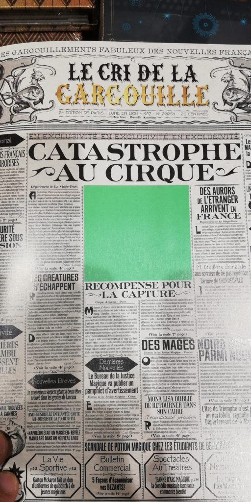 Réplique du Cri de la Gargouille, le journal du monde magique français créé par Minalima pour Les Animaux fantastiques : les crimes de Grindelwald
