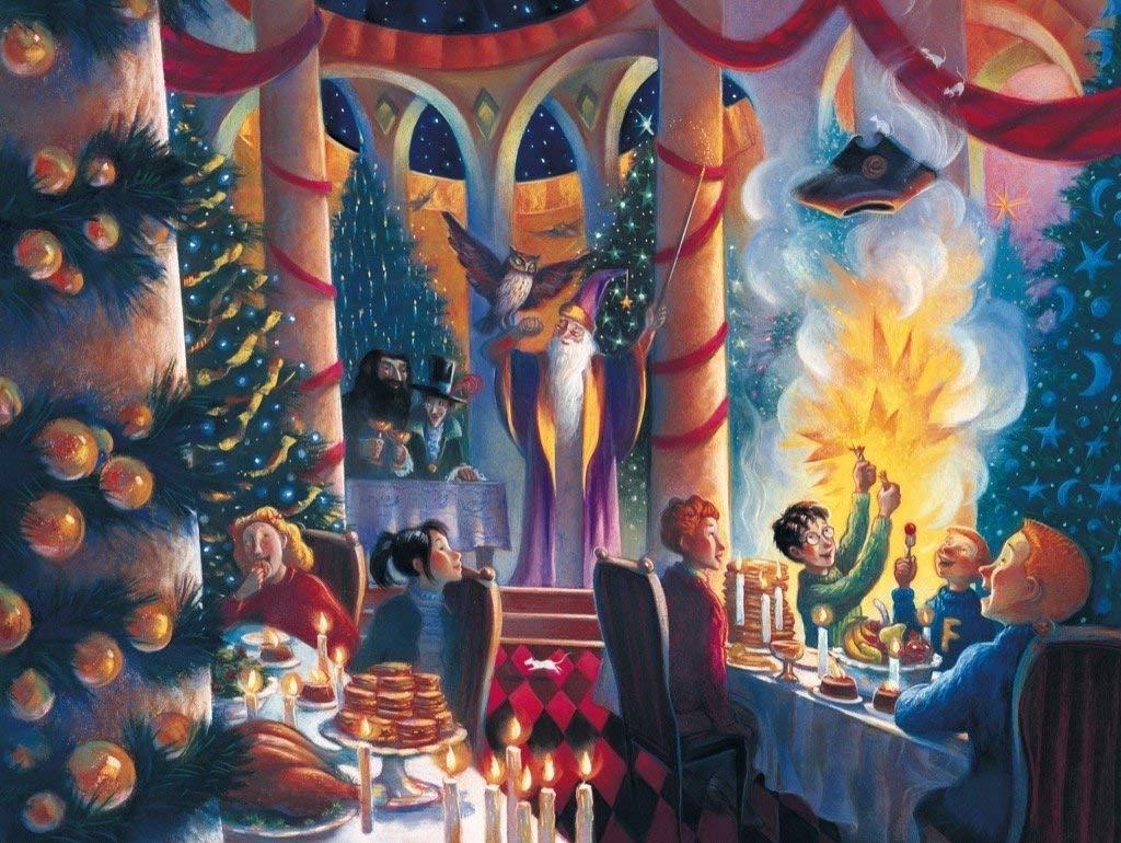Illustration de Noël dans la Grande Salle de Poudlard par Mary Grandpré