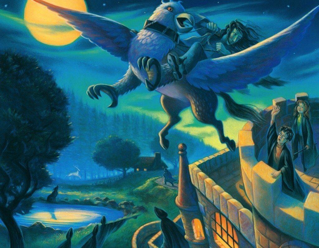 Illustration de l'évasion de Sirius Black à dos de Buck par Mary GrandPré