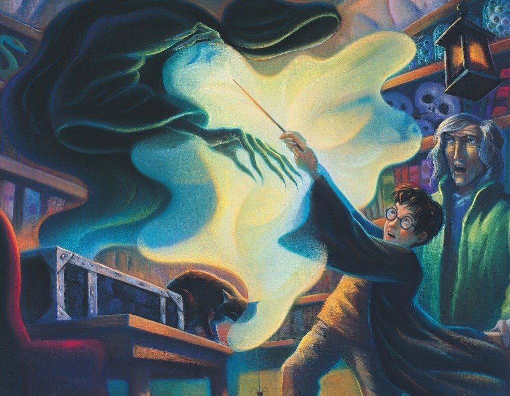Illustration du cours de Lupin sur le sortilège de Patronus, par Mary GrandPré