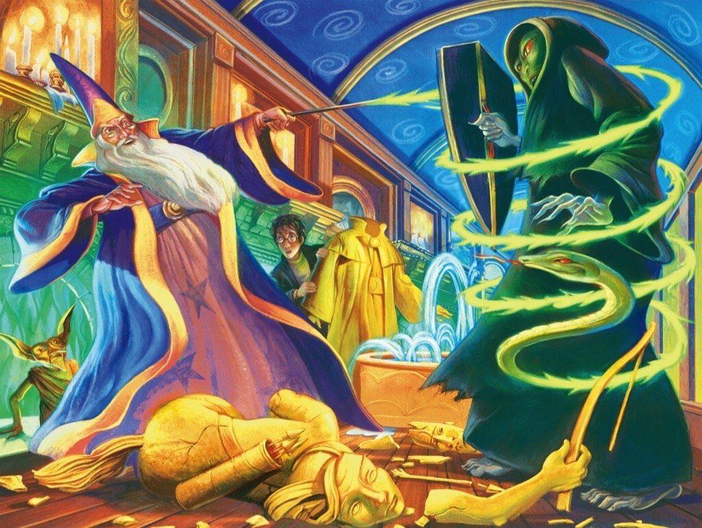 Illustration de la bataille au Ministère de la Magie entre Dumbledore et Voldemort par Mary Grandpré