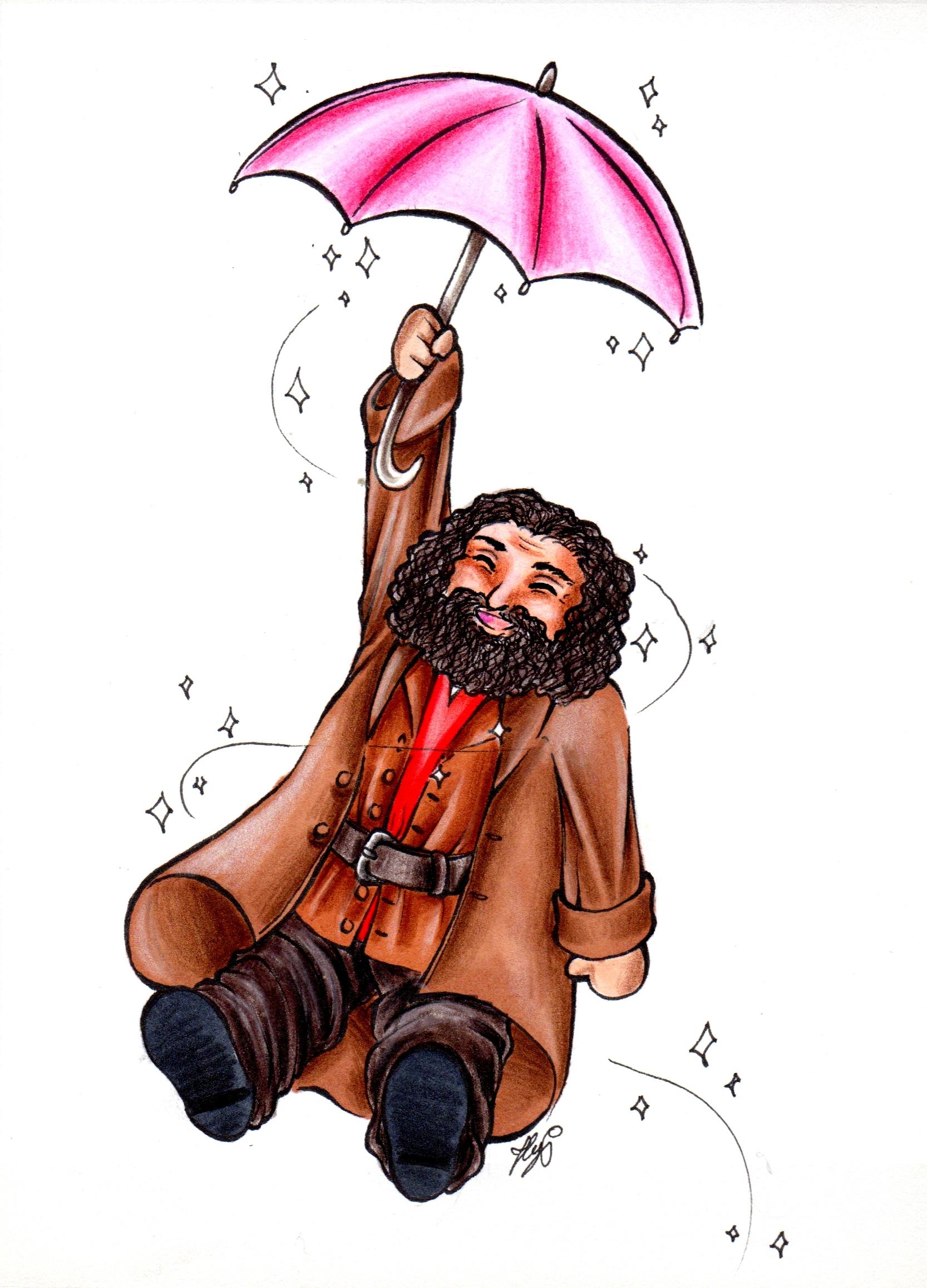 Rubeus Hagrid s'envole avec son parapluie magique