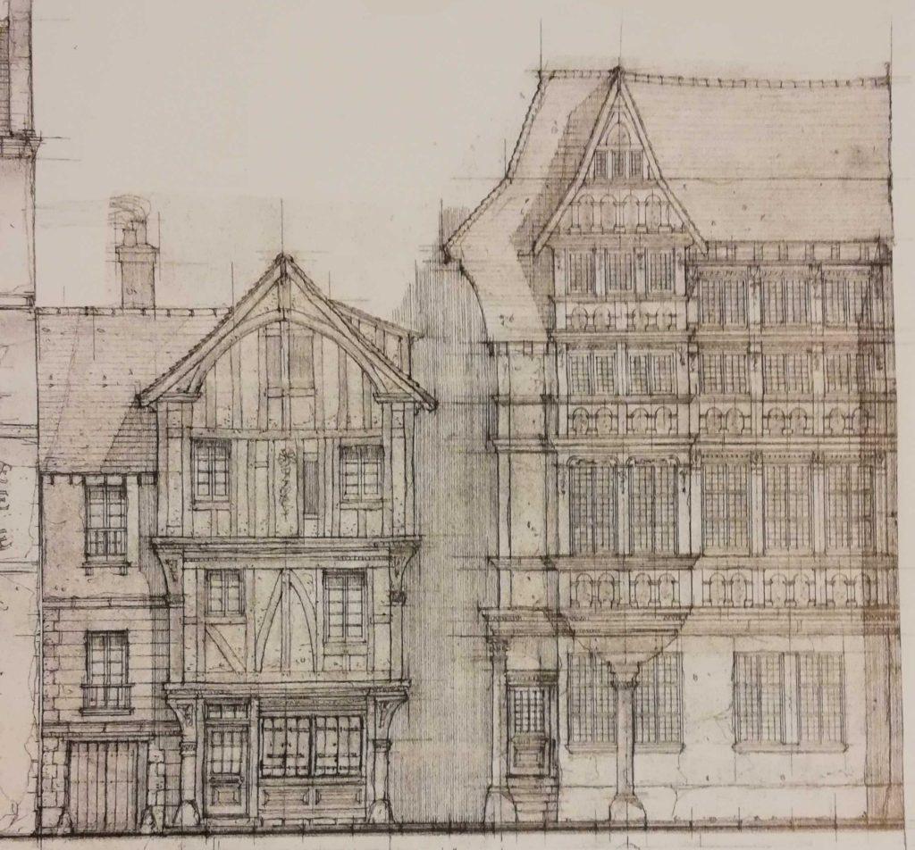 Plan du décor de la maison de Nicolas Flamel pour LEs Animaux Fantastiques LEs Crimes de GRindelwald