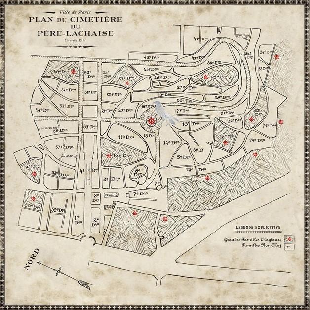Carte du cimetière du Père Lachaise réalisée par MinaLima pour Animaux Fantastiques : Les Crimes de Grindelwald - tombeau de sLestranges