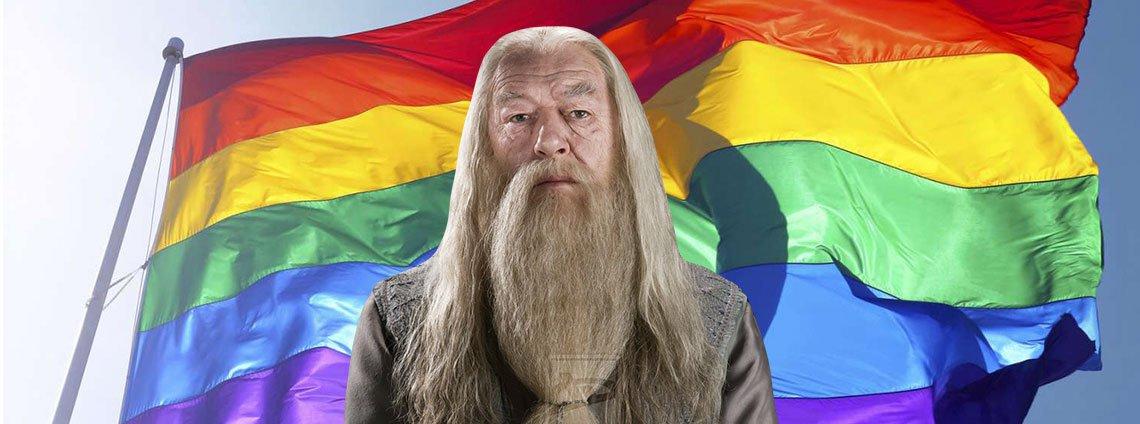 Dumbledore devant un drapeau arc-en-ciel de la communauté LGBTQ+