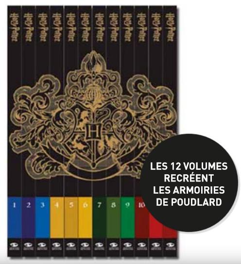 La collection Harry Potter au cinéma, dont les 12 dos reproduisent les armoiries de Poudlard