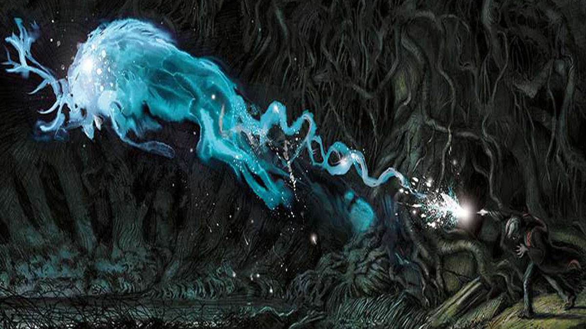 Harry lance un patronus corporel dans HArry Potter et le prisonier d'Azkaban, illustration par Jim Kay