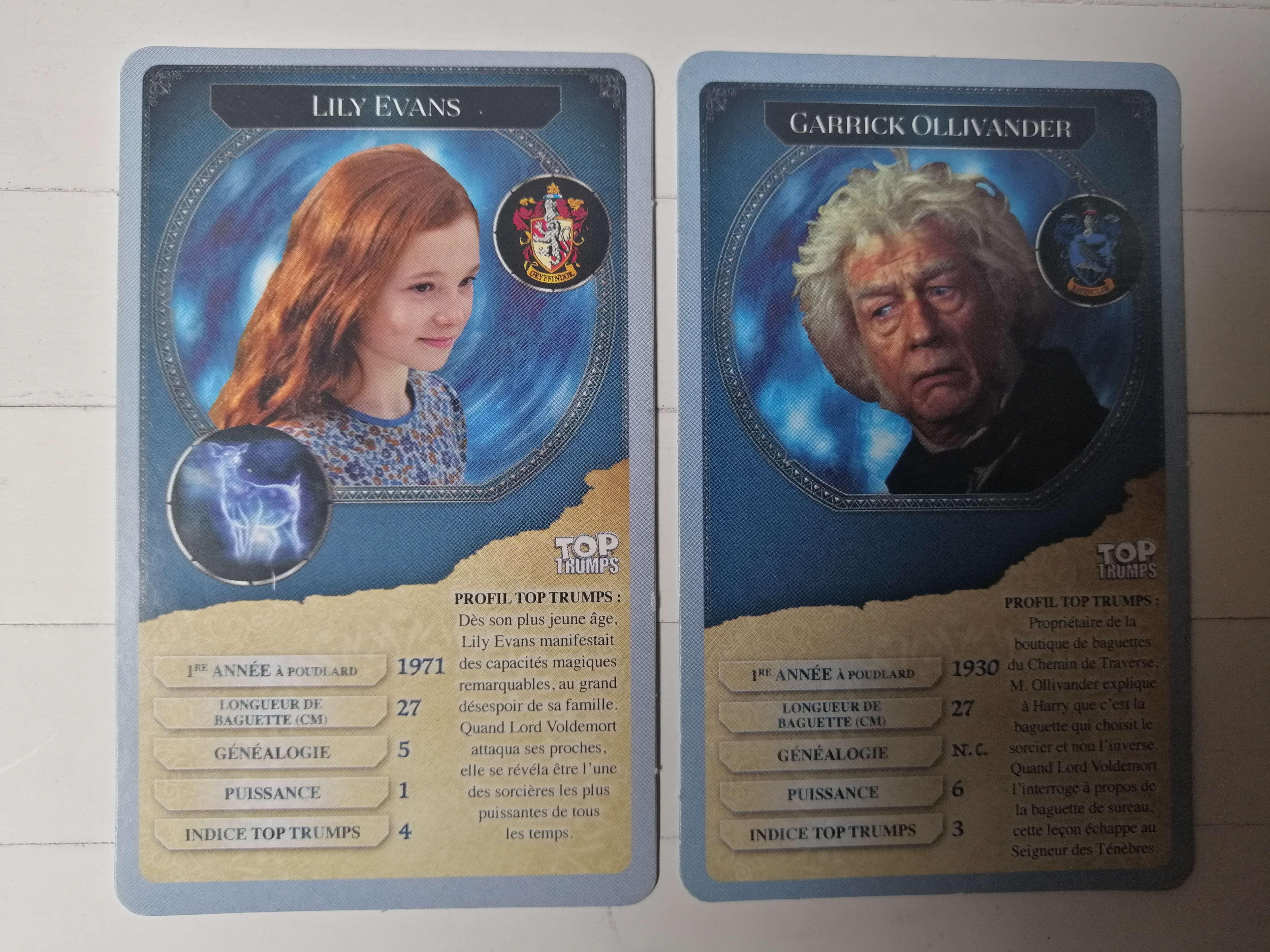 Top Trumps Harry Potter cartes spéciales Lily et Ollivanders