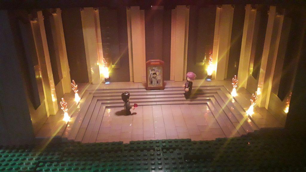 L'affrontement contre Quirrel face au miroir de Risèd, scène en LEGO