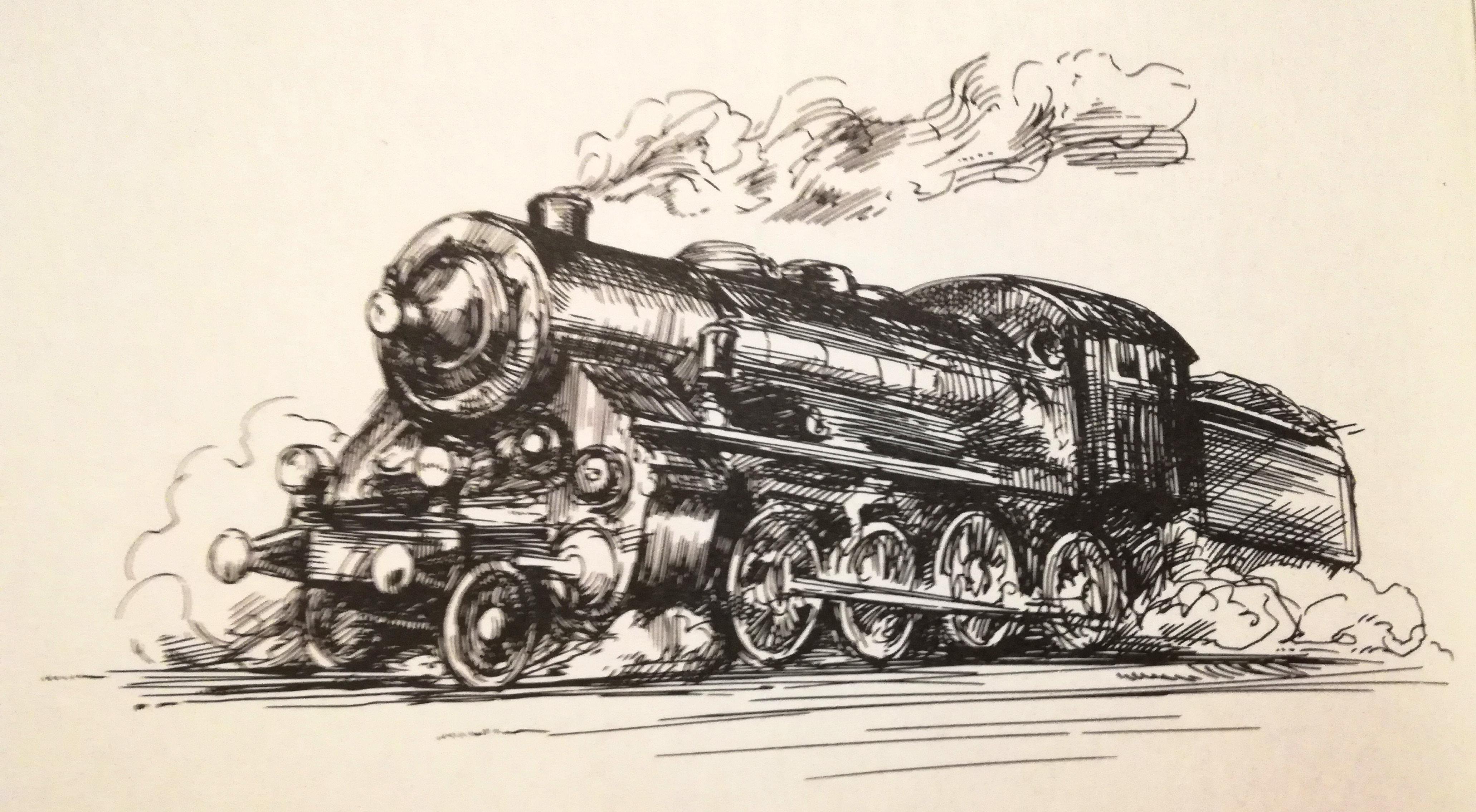 Train à vapeur, dessin d'illustration dans Harry Potter : Science ou Sorcellerie, éditions De Boeck