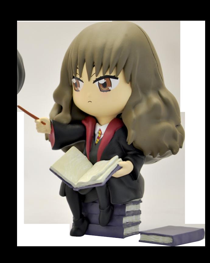 Hermione assise sur une pile de livres brandissant sa baguette - figurine plastoy