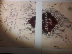 Carte du Maraudeur imprimée pour être placée sur le plateau DIY