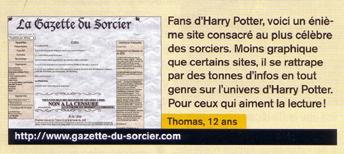 Encadré extrait de Géo Ado n°67  présentant la Gazette comme un site regorgeant d'infos sur l'univers de Harry Potter