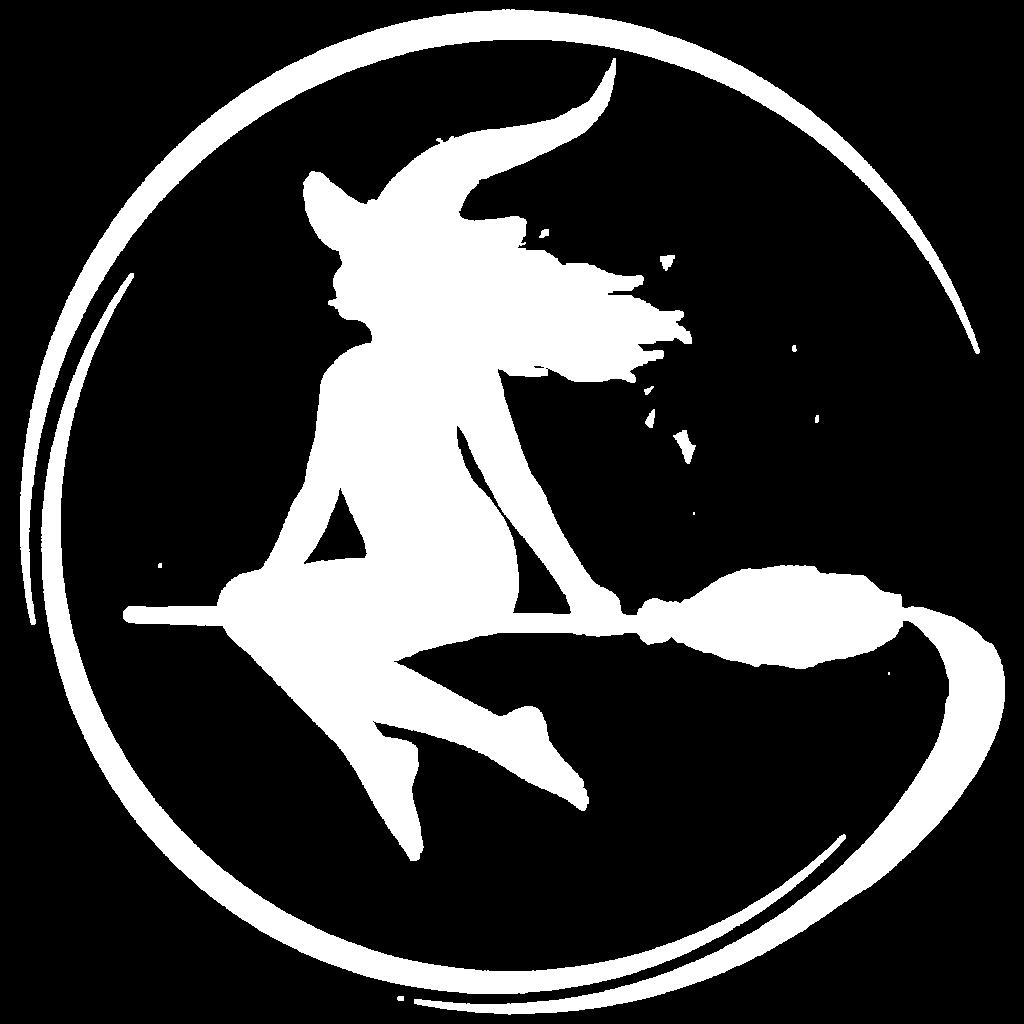 Logo de La Gazette du Sorcier.com ; sorcière de profil sur un balai dont le vol forme un G