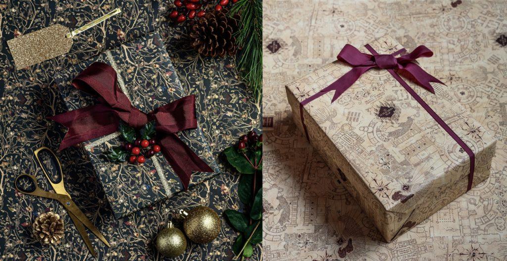 Papiers cadeaux tapisserie des Black et carte du Maraudeur par MinaLima