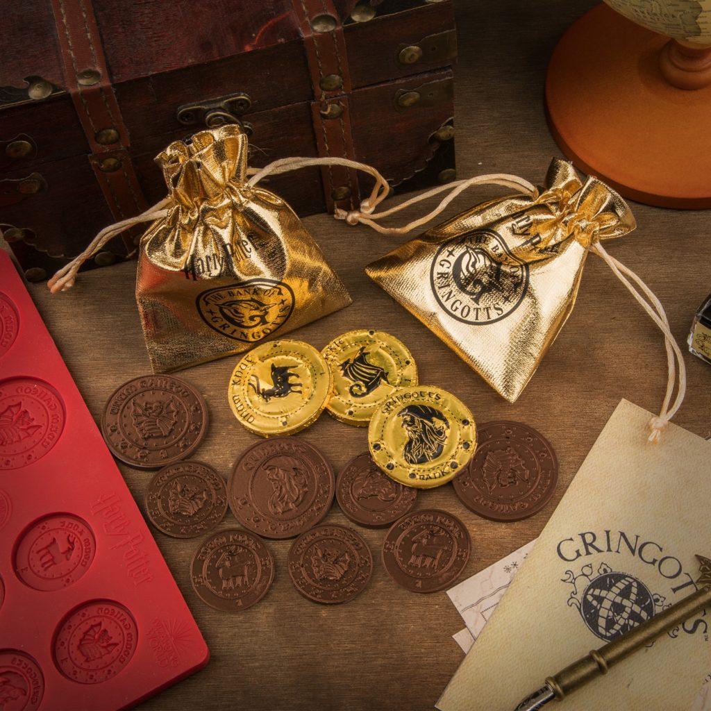 Gallions de Gringotts en chocolat avec bourses dorées par Cinéréplicas